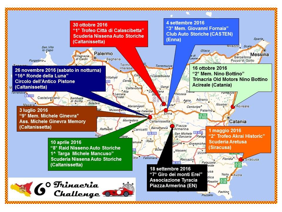 Mappa delle gare del T.C. 2016